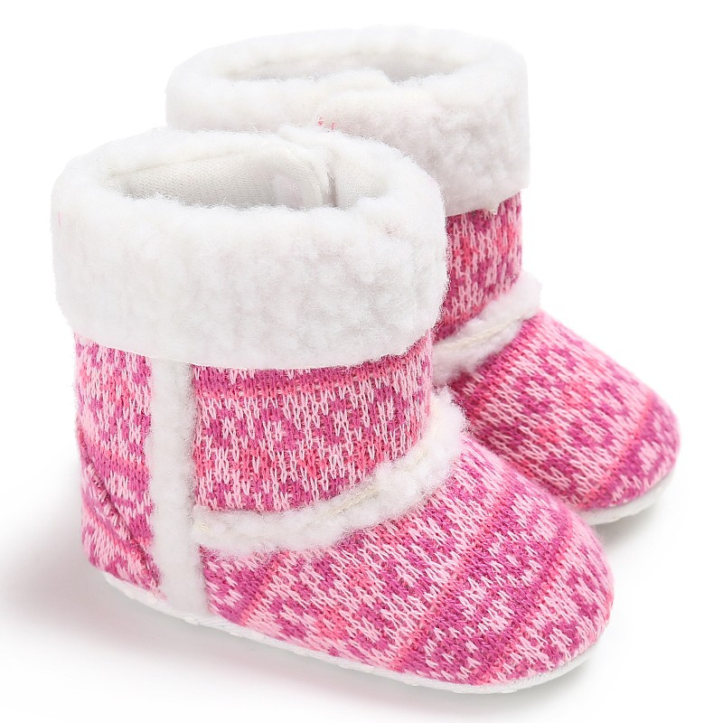 Warm Baby Winter Shoes Newborn Baby Girls First Walkers Infant Toddler Soft Rubber Soled Anti-slip Boots Booties