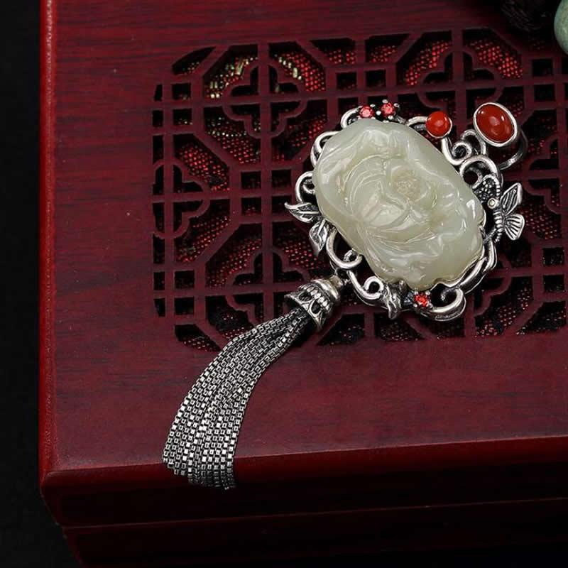 Ethnique pur argent Lotus papillon blanc jadéite pendentif femmes collier pendentif