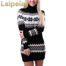Laipelar Autumn Winter Long Sleeve Turtleneck Pullover Women Sweater Snowflake Knitwear Female Dresses Vestidos