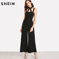 SHEIN Party Jumpsuits For Women Black Halter Sleeveless Zipper Back Mid Waist Caged Front Solid Wide