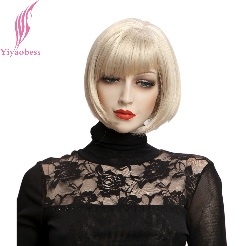 Yiyaobess 10inch Natural Short Wig With Bangs Synthetic Hair Straight Bob Wigs For Women Japanese Fiber