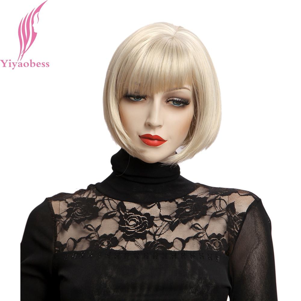Yiyaobess 10 pouces Perruque Blonde Avec Une Frange Synthétique Cheveux Naturels Droite Courte Bob Perruques Pour Les Femmes