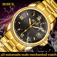 BOSCK Golden Luxury Stainless Steel Skeleton Male Wrist Watch Men Watches Top Brand Luxury Automatic Mechanical