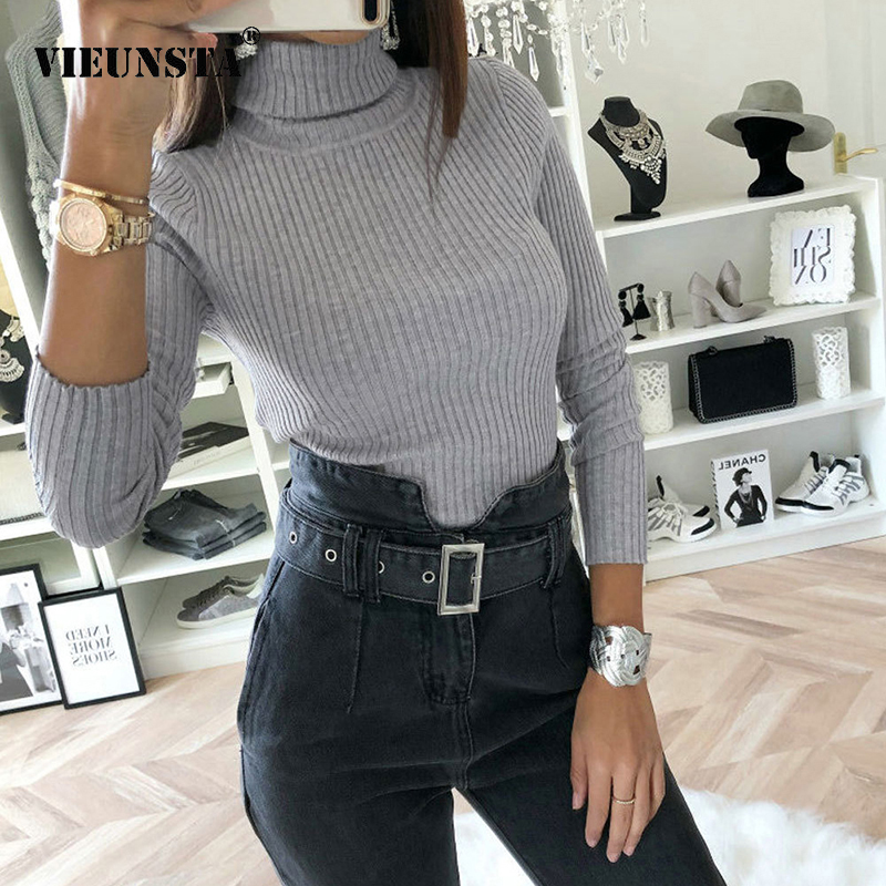 VIEUNSTA 2018 Fashion Turtleneck Knit Ribbed Bodysuit Women Autumn Winter Long Sleeve Warm Jumpsuits Female Rompers Casual Tops