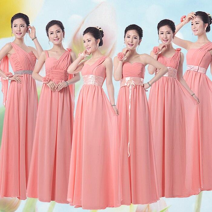Bonito Vestidos De Dama De Coral Larga Patrón - Ideas de Vestido ...