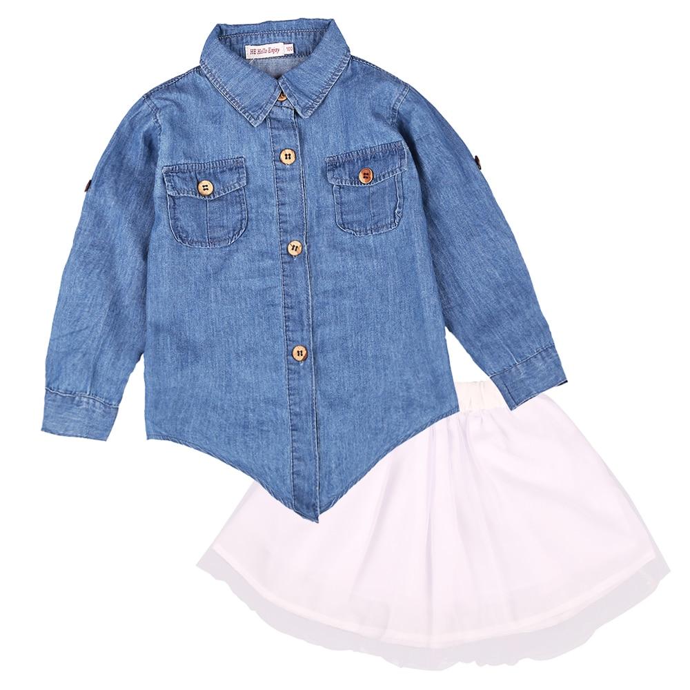 36ca34c0f7 HE Hello Enjoy Mother Daughter Clothes Set family look Children girl women  long sleeved denim shirt+tutu skirt matching outfits