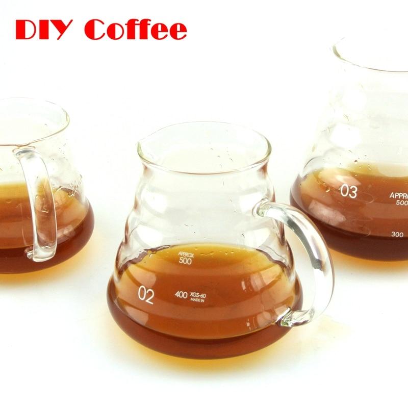 1PC Hot Coffee Dripper Hario Style Coffee Server Coffee Kettle 360ML 5800ML 780ML V60 Range Server