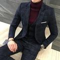 3 Peça Homens Terno Xadrez Britânico Mais Recente Casaco Calça Colete Projetos Azul Royal Vestido de Terno Homens Outono Inverno Slim Fit Terno Masculino