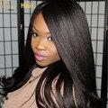 Luz yaki recto peluca llena del cordón sin cola brasileña del pelo rizado del frente del cordón peluca yaki italiano recta peluca de cabello humano para negro mujeres