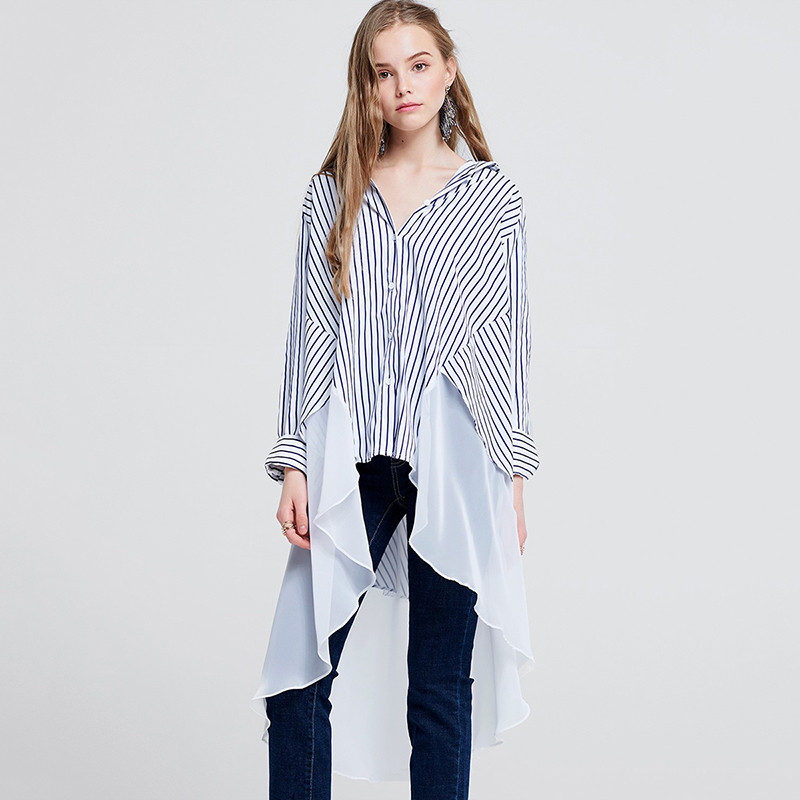 Self-design Patchwork Shirts Female Summer Fashion Striped Blouse Sexy V Neck Irregular Long Shirts Long Sleeve Loose Chic Tops