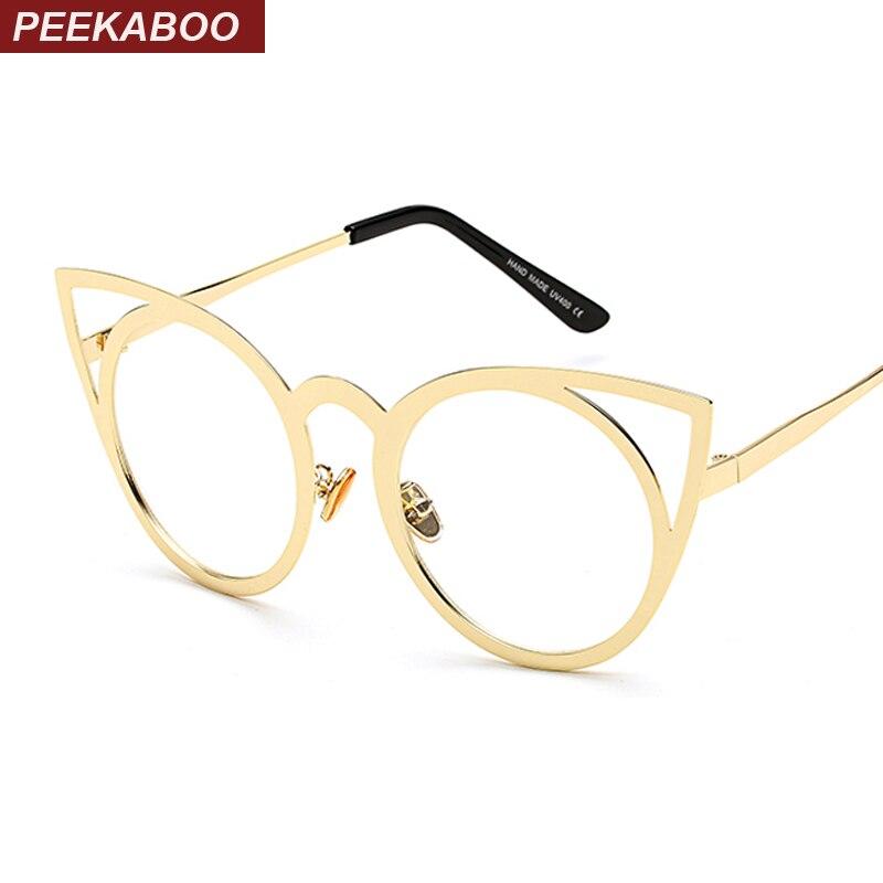 ୧ʕ ʔ୨Peekaboo Oro Negro sexy CAT ojo gafas marcos para las mujeres ...