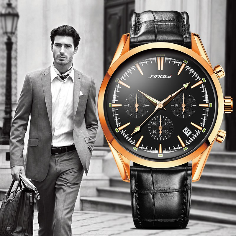 SINOBI Cool Rose Gold Watches for Men Leather Quartz Wristwatch for Man Scale Black Dress Watch