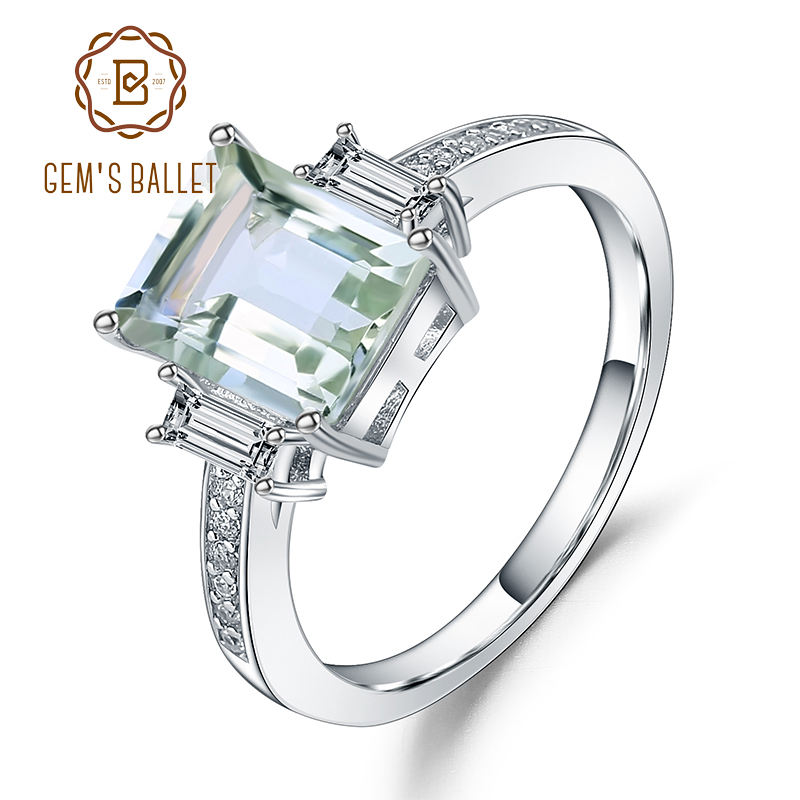 Gem's Ballet 4.1Ct  Natural Green Amethyst Wedding Band Ring Genuine 925 Sterling Silver Gemstones Rings For Women Fine Jewelry