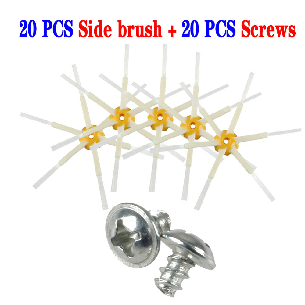 20pcs Side Brush+20pcs screws for iRobot Roomba 500 600 700 Series 550 560 630 650 760 770 780 Vacuum Cleaner Accessories Parts flexible beater brush bristle brush for irobot roomba 500 600 700 series 550 630 650 660 760 770 780 790 vacuum cleaner parts