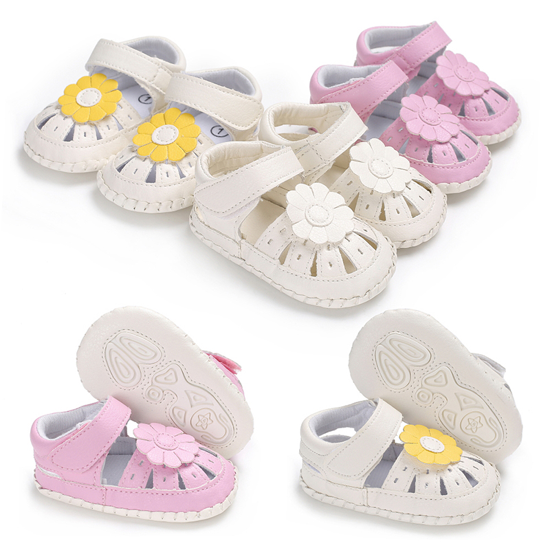 Fashion Infants Baby Girl Flowers Soft Sole Crib Shoes Toddler Sandles Leather Prewalker Sweet Summer Shoes Hollow First Walker