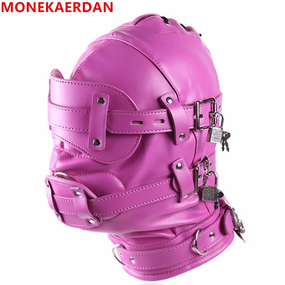 Bdsm Fetish Sex Leather Hood Mask Headgear Mouth Plug Bondage Slave Restraint Lockable Flirting Toys In Adult Games For Women adult games cosplay horse headgear leather bondage bdsm fetish slave blindfold mask cap head restraints hood sex toys products
