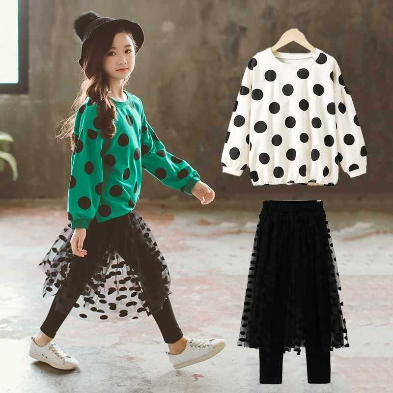 dcefb3fd6453b Leggings With Skirts Little Girls Clothes Sets Fashion Suit School Children  Autumn Teenage Girls Sport Suit 2PS Kids Clothes Set