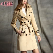 2017 khaki double breasted trench female medium-long fashion slim spring and autumn coat Ladies outerwear