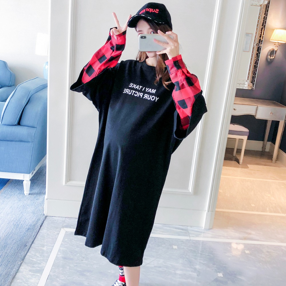 2018 new winter long section of pregnant women T-shirt fake two loose stitching sleeve plaid maternity dress out compassionate long sleeve button down plaid midi flannel shirt dress