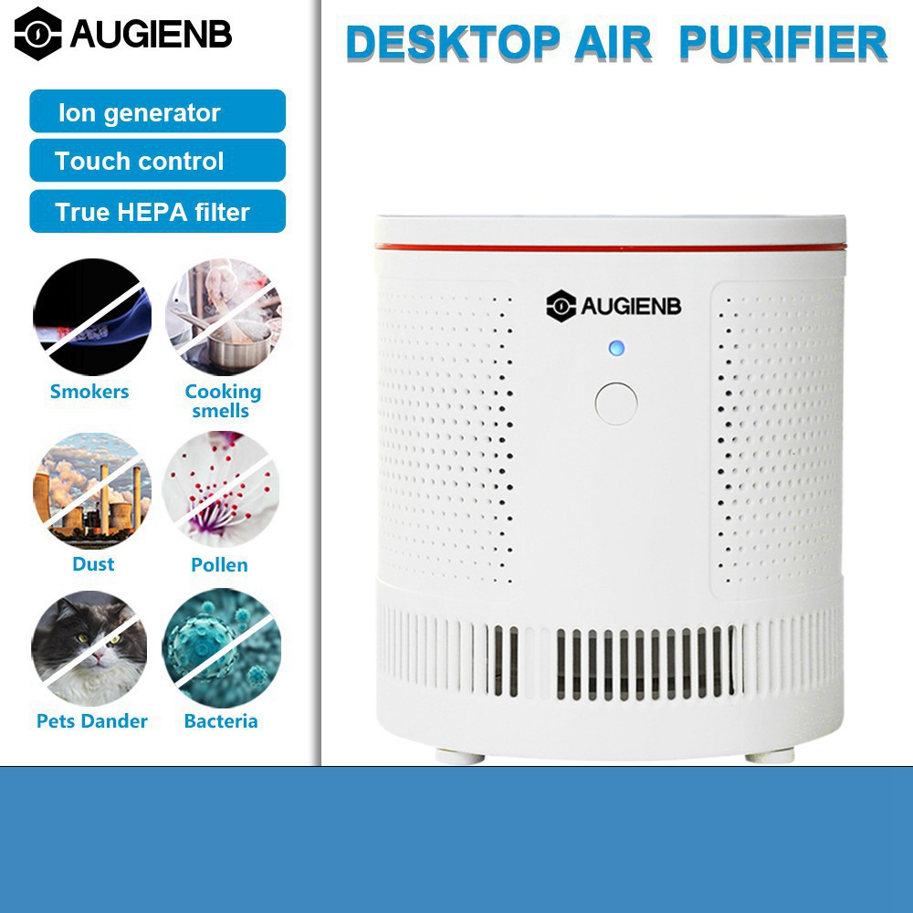 AUGIENB Desktop Air Purifier ionizer Ture Hepa Filter Formaldehyde PM2.5 Mold Odor Smoke Allergies Air Cleaner SilentAUGIENB Desktop Air Purifier ionizer Ture Hepa Filter Formaldehyde PM2.5 Mold Odor Smoke Allergies Air Cleaner Silent