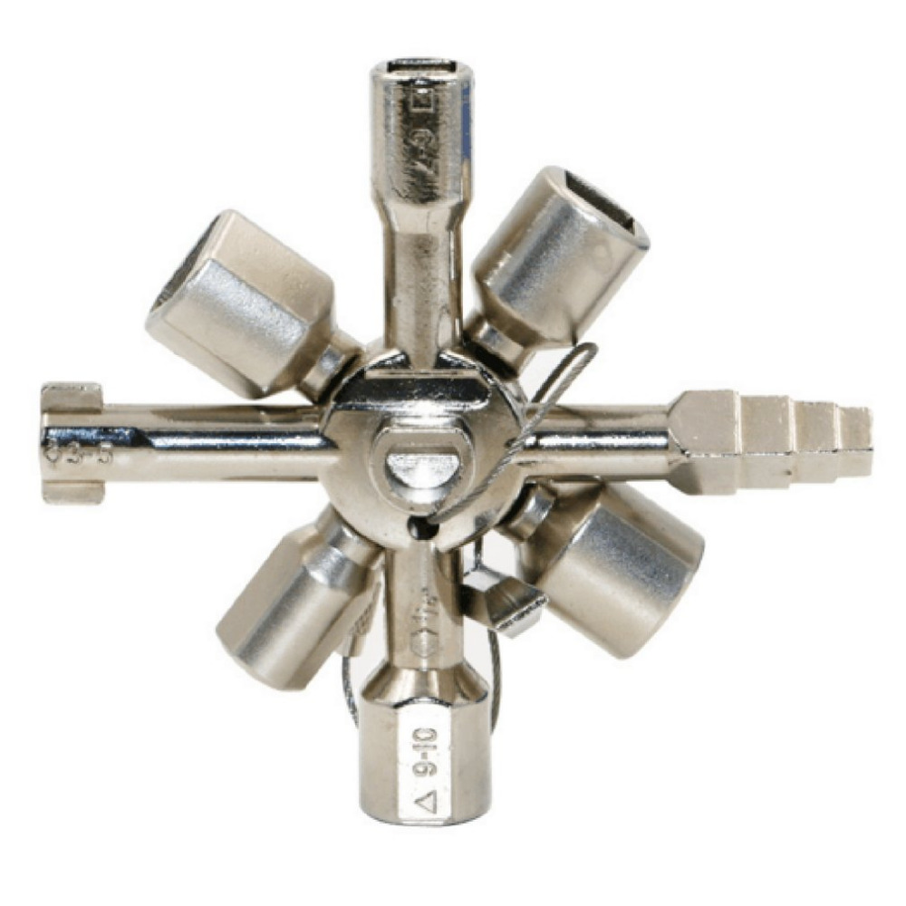 OUTAD Universal Triangle Key Wrench 10-in-1 Multifunction Cross Switch Key Wrench for Electrical Elevator Cabinet Valve