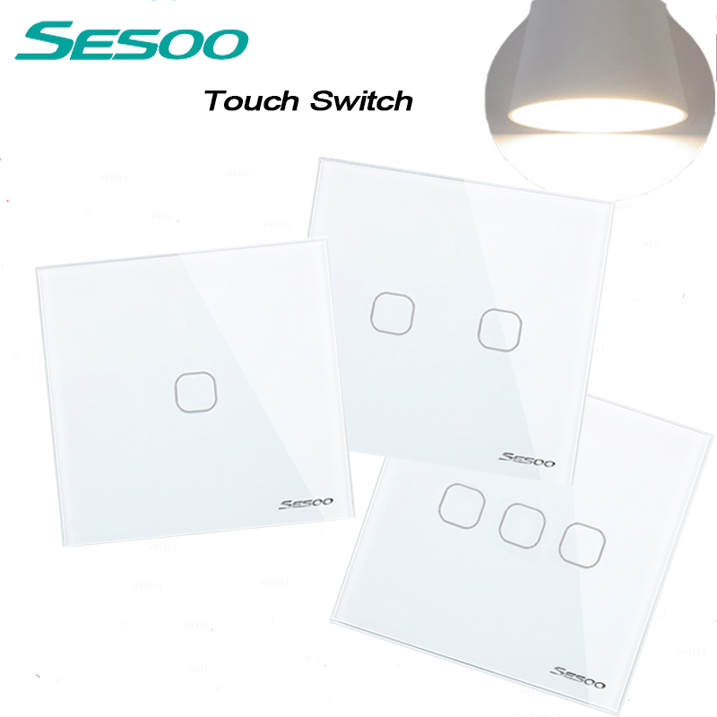 EU/UK Standard SESOO Touch Switch 1 Gang/2 Gang/3 Gang 1 Way,Single Fireline Wall Light Switch,White Crystal Tempered Glass eu uk standard sesoo remote control switch 3 gang 1 way crystal glass switch panel wall light touch switch led blue indicator