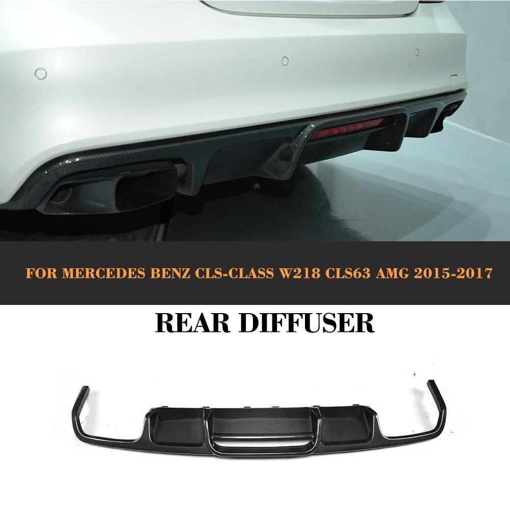 CLS Class Carbon Fiber Rear Bumper Exhaust Diffuser Lip Spoiler for Mercedes Benz W218 Sedan 4 Door 15-17 CLS63 AMG S