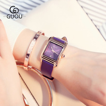 цены New famous brand Fashion simple Watches Women temperament Ladies quartz watch Square dial Clock Female Genuine Leather Watches