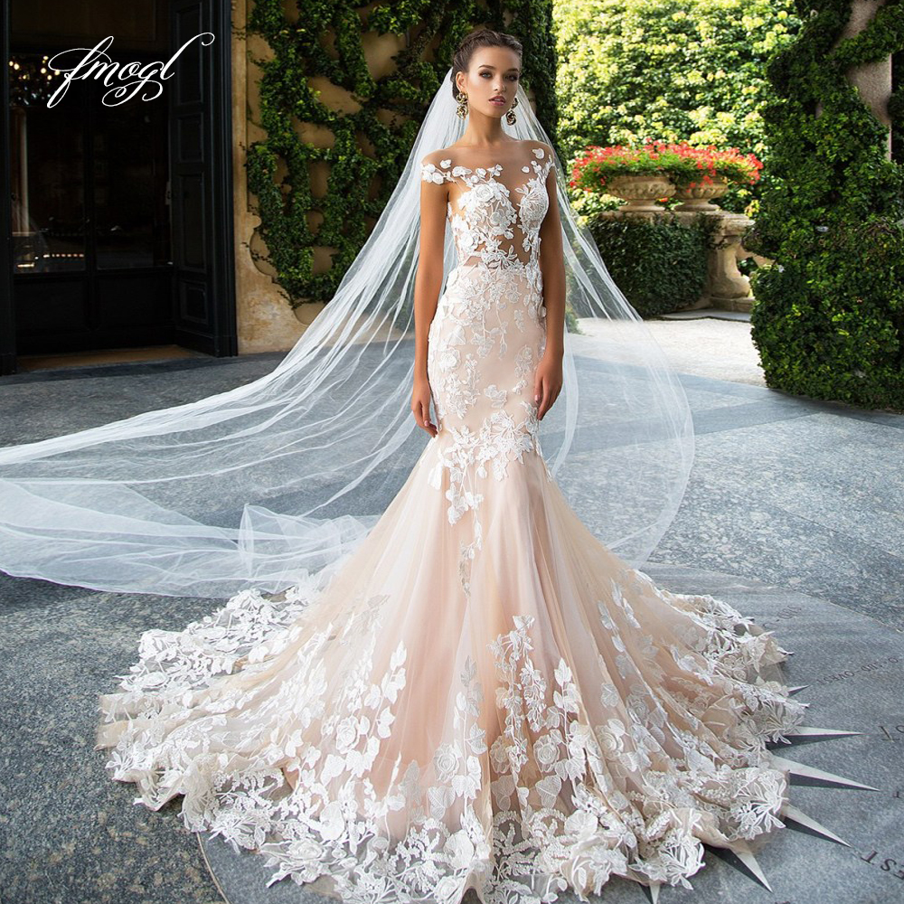 Fmogl Sexy Backless Embroidery Mermaid Wedding Dresses 2020 Luxury Appliques Cap Sleeve Court Train Vintage Trumpet Bridal Gowns