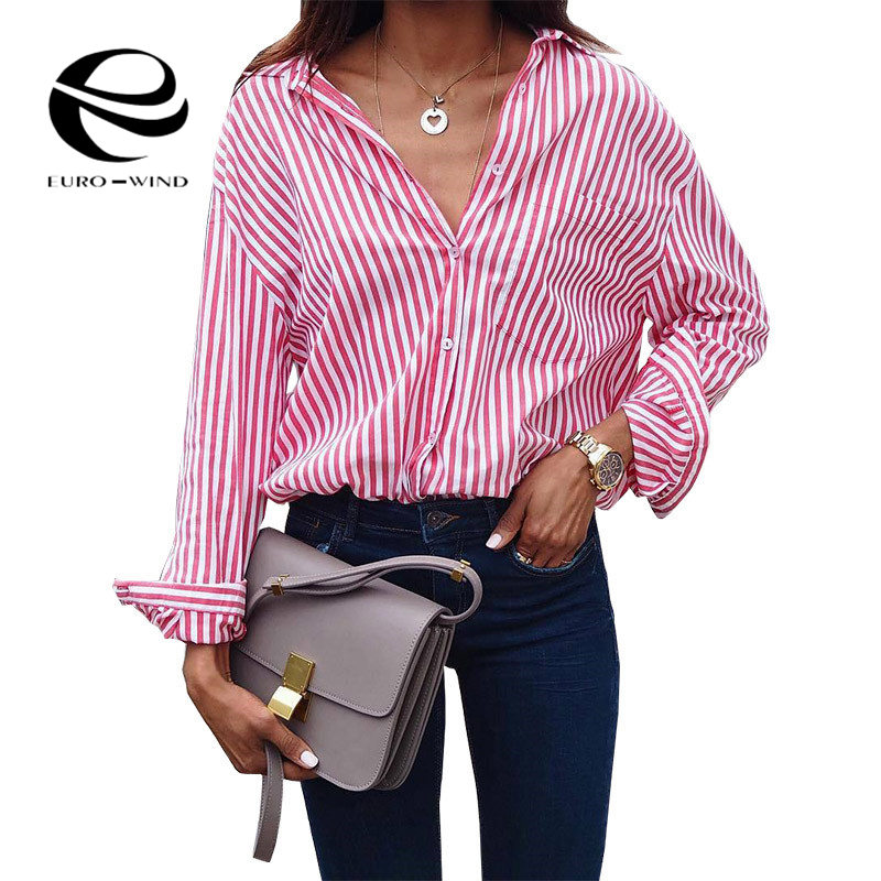 Women Striped Long Sleeve   Blouse     Shirt   Female Loose Blusas Femme Autumn Fall Casual Ladies Office   Blouses   Top Sexy Plus Size 5XL