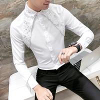 Men Lace Shirt 2018 New Designer Wedding Shirts For Men Fashion Social Club Party Black White Dress Shirts Smoking Long Sleeve