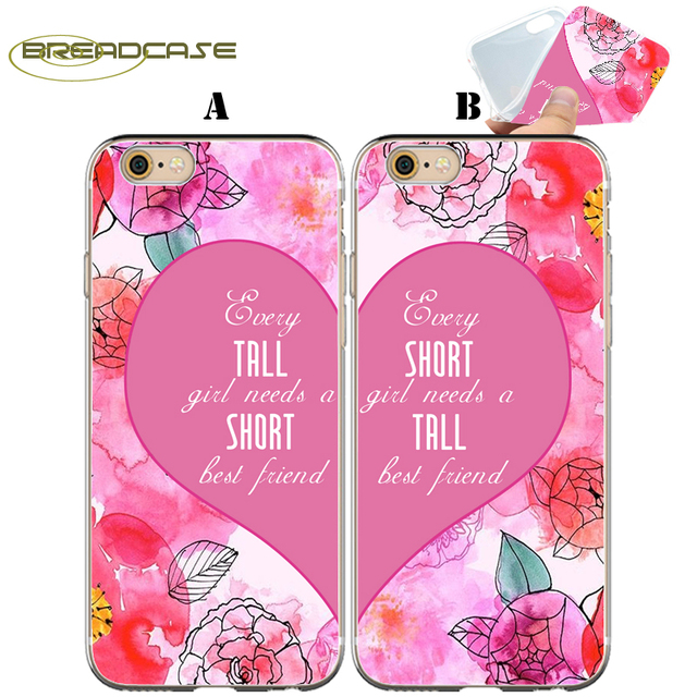 Coque Tall Short Best Friend Quotes Clear Soft Silicone Couple