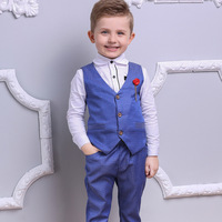2018 New Fashion England Style Casual Boys Suit 3pcs( Vest + Shirt + Trousers ) Boy Blazers for Host Performance Evening Party