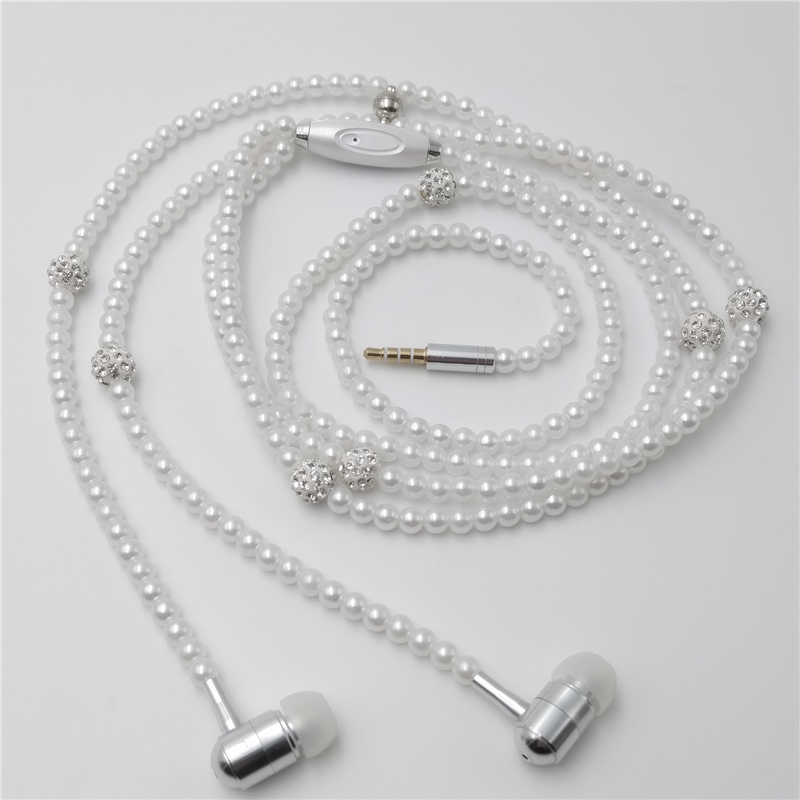 FITZ BJ005 Super Bass HIFI Earbuds Stereo Music Earpiece Dress Earphones Jewelry Pearl Necklace Earphone For xiaomi Smartphone jac fitz enz predictive analytics for human resources