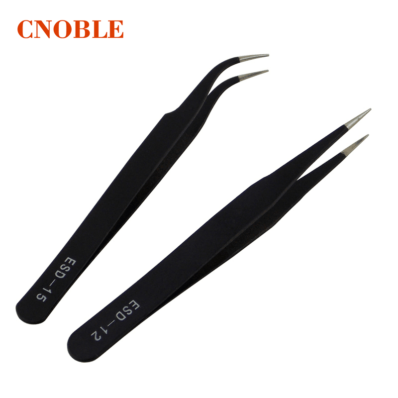 2Pcs Antistatic Electroplating Nonmagnetic Stainless Steel Curved Straight Eyebrow Tweezer Eyelash Extension DIY Necessary Tools