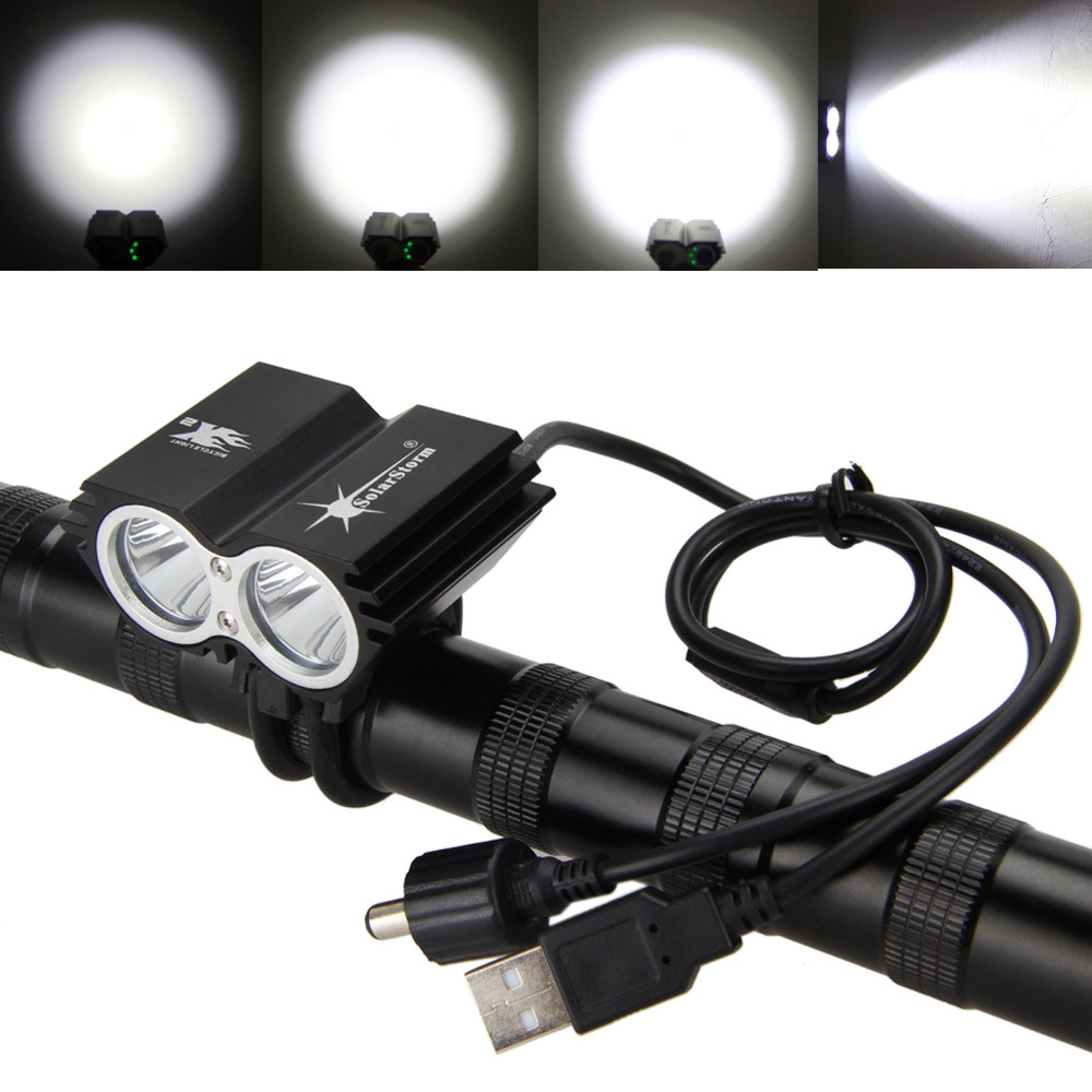 SolarStorm 2x L2 LED 6000Lm USB Front Bicycle Bike Light led Light Headlight +Back Rear Light+4x18650 Batery Pack 180 16 9 fast fold front and rear projection screen back