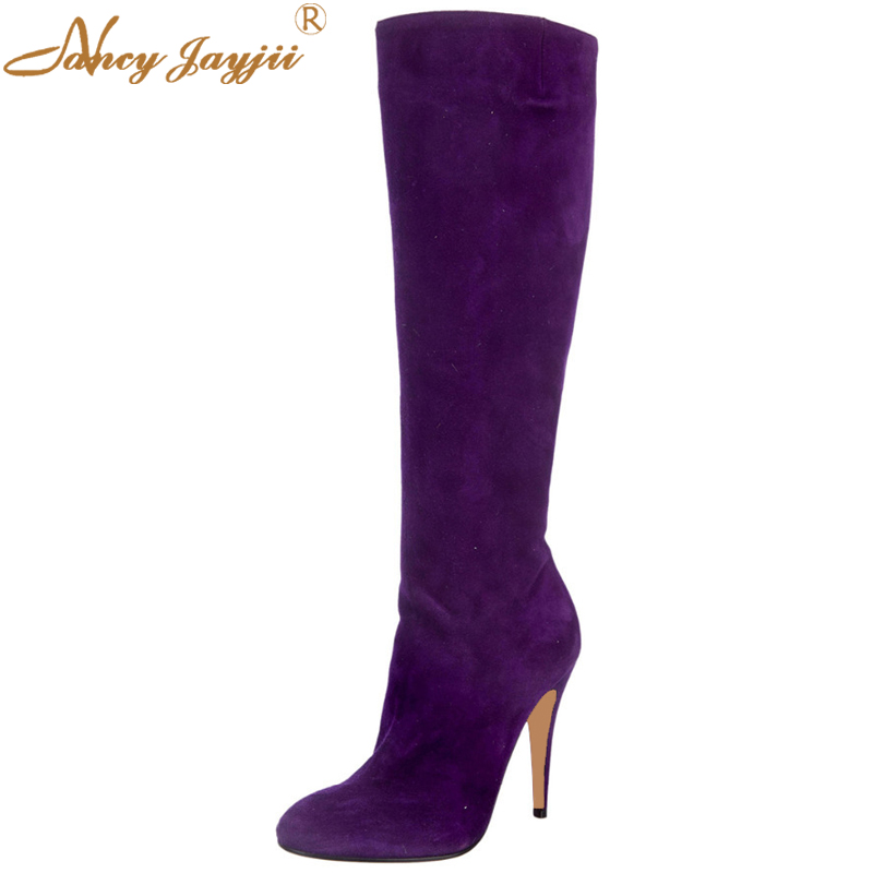 Purple Suede Western Boots Womens Shoes Woman Round Toes Rubber Boots Covered High Heels Zip Closure At Counter Nancyjayjii