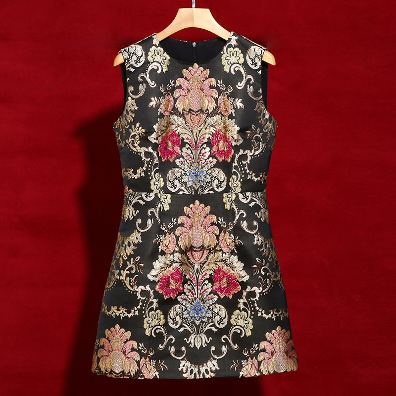 Red RoosaRosee 2019 Summer Runway Women Vintage Floral Print Crystal Black Mini Dress Elegant Party Holiday