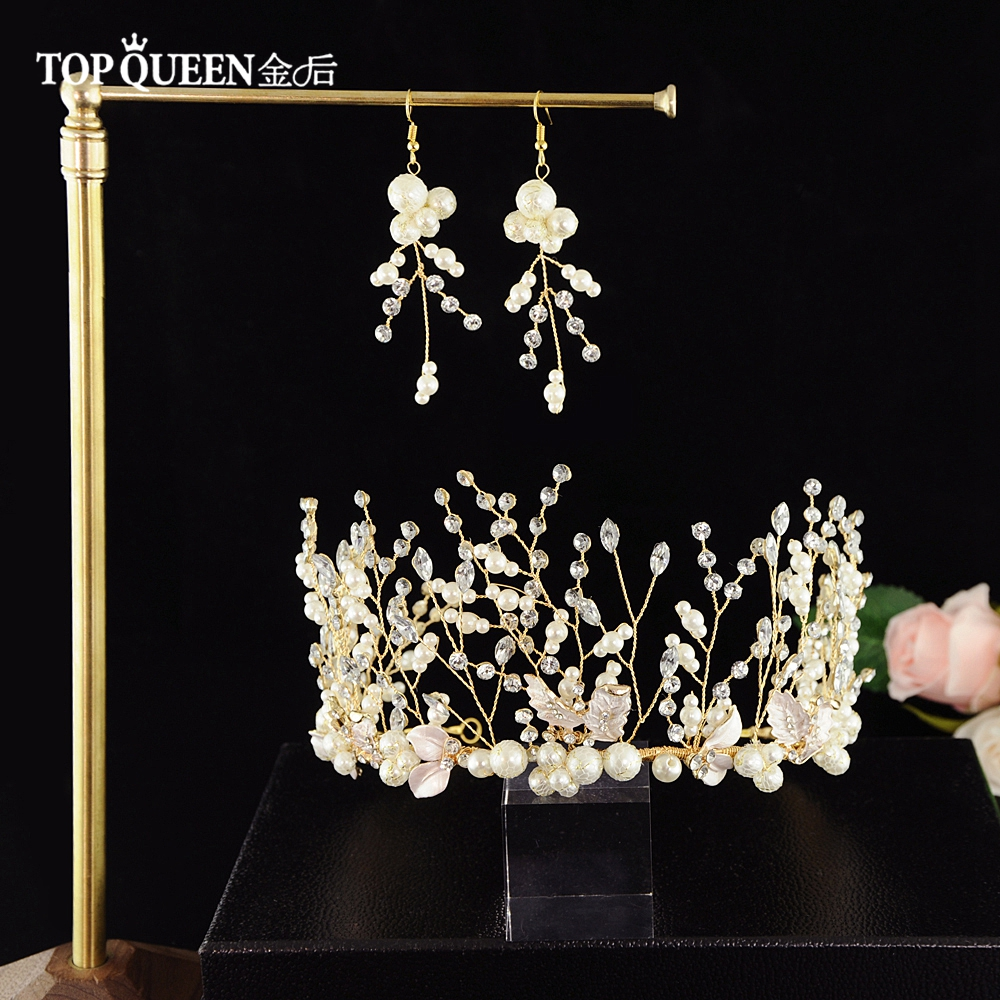 TOPQUEEN Wedding Tiara And Crown Bride Hair Jewelry Handmade Rhinestone Wedding Hair Accessories Bridal Headband HP213