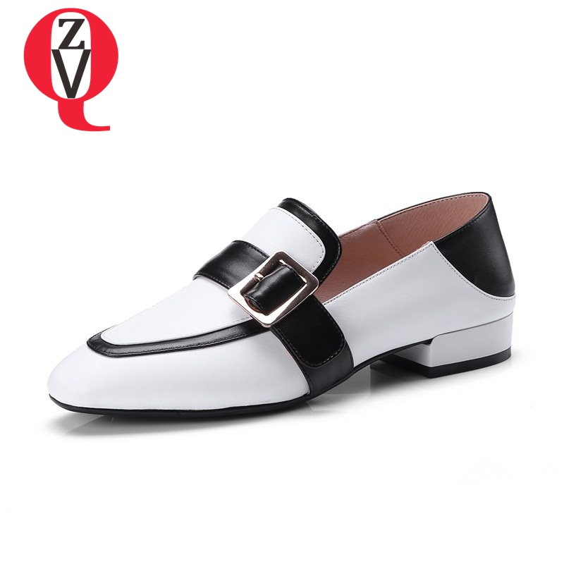 ZVQ chaussures mixed colors buckle belt comfortable square toe heels genuine leather shoes office lady high heels pumps цена 2017