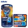 Gillette fusion proshield flexball máquina de afeitar las hojas de afeitar para los hombres máquina de afeitar cuchillas de afeitar con el factor cool 1 mango + 5 cuchillas
