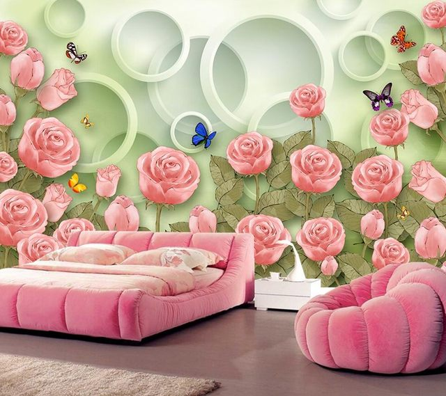 Online Shop Hand-painted flowers roses butterfly 3D Dream wallpaper ...