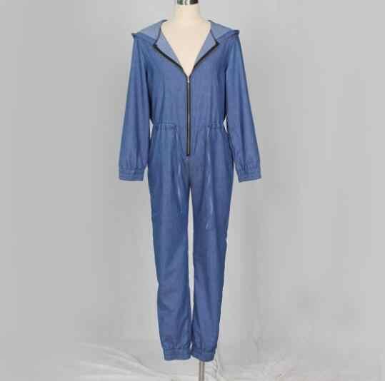 Хорошее качество Комбинезоны женские джинсы комбинезон с длинным рукавом повседневные джинсовые комбинезоны на молнии с капюшоном джинсовые комбинезоны