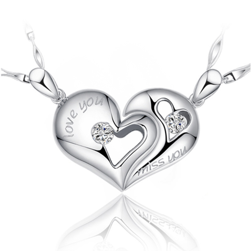 fine Jewelry Silver Platinum Plated charms Crystal Love Heart Lover's Necklace Pendant for women (not match chain)