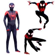 زي الرجل العنكبوتي الجديد في أزياء الرجل العنكبوتي في الآية العنكبوتية مايلز موراليس بدلة بدلة بدلة للبالغين ملابس زنتاي
