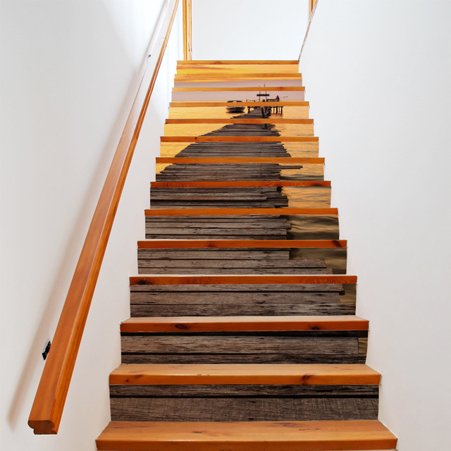 € 50.59 |13 Pièces/ensemble BRICOLAGE Créatif 3D Escalier Autocollants  Coucher Du Soleil Port Motif pour Escalier Maison Décoration Grand ...