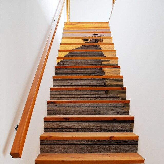 13 Teile/los Kreative DIY 3D Stairway Aufkleber Sonnenuntergang Hafen  Muster Für Haus Treppen Dekoration