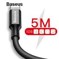 Нейлоновый usb-кабель Baseus 5 м для iPhone 7 6s Plus 2A, кабель для быстрой зарядки, Реверсивный кабель для Apple iPhone, зарядное устройство X 8 Plus, кабель USB