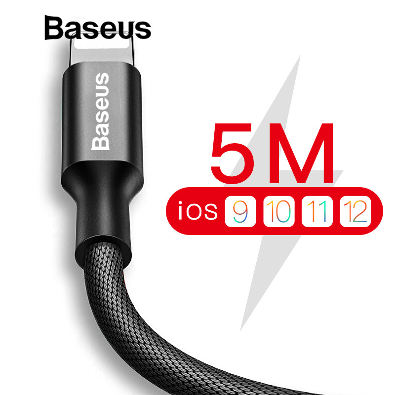Baseus náilon 5 m cabo usb para iphone 7 6s mais 2a cabo de carregamento rápido reversível para apple iphone carregador x 8 mais cabo usb