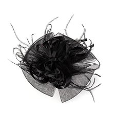 Feathers Organza Pink Flower Mesh Headband Black Fashion Party